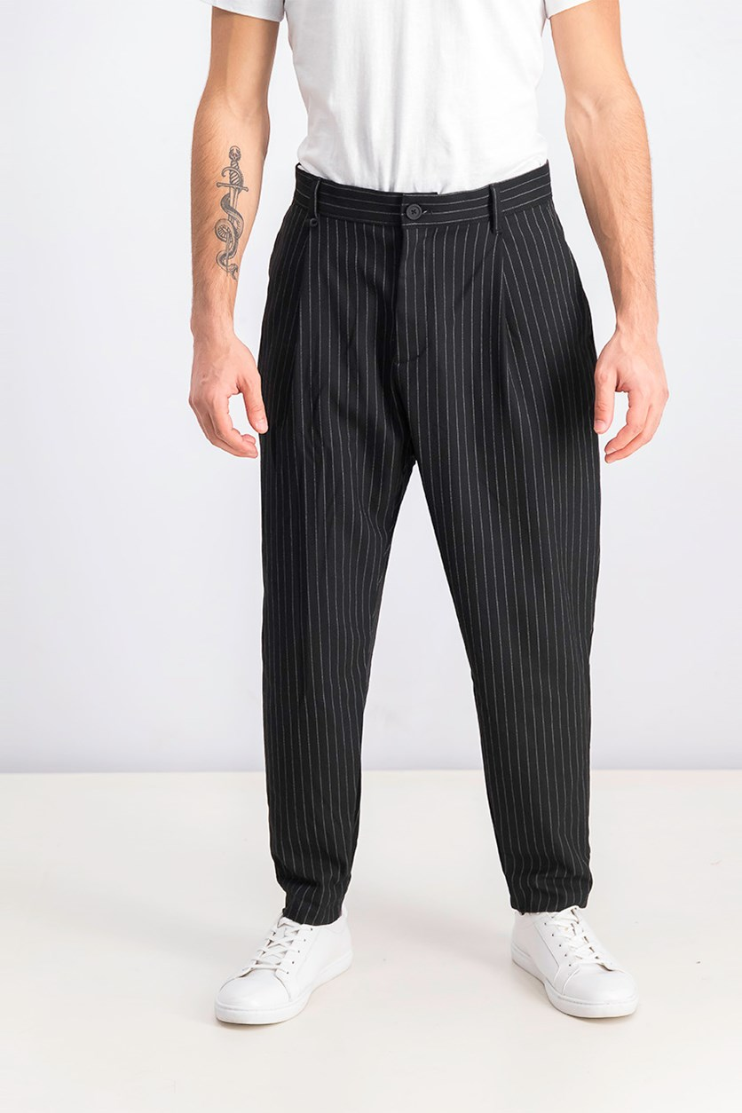 Men's Carrot Loose Fit With Chain Trousers, Black