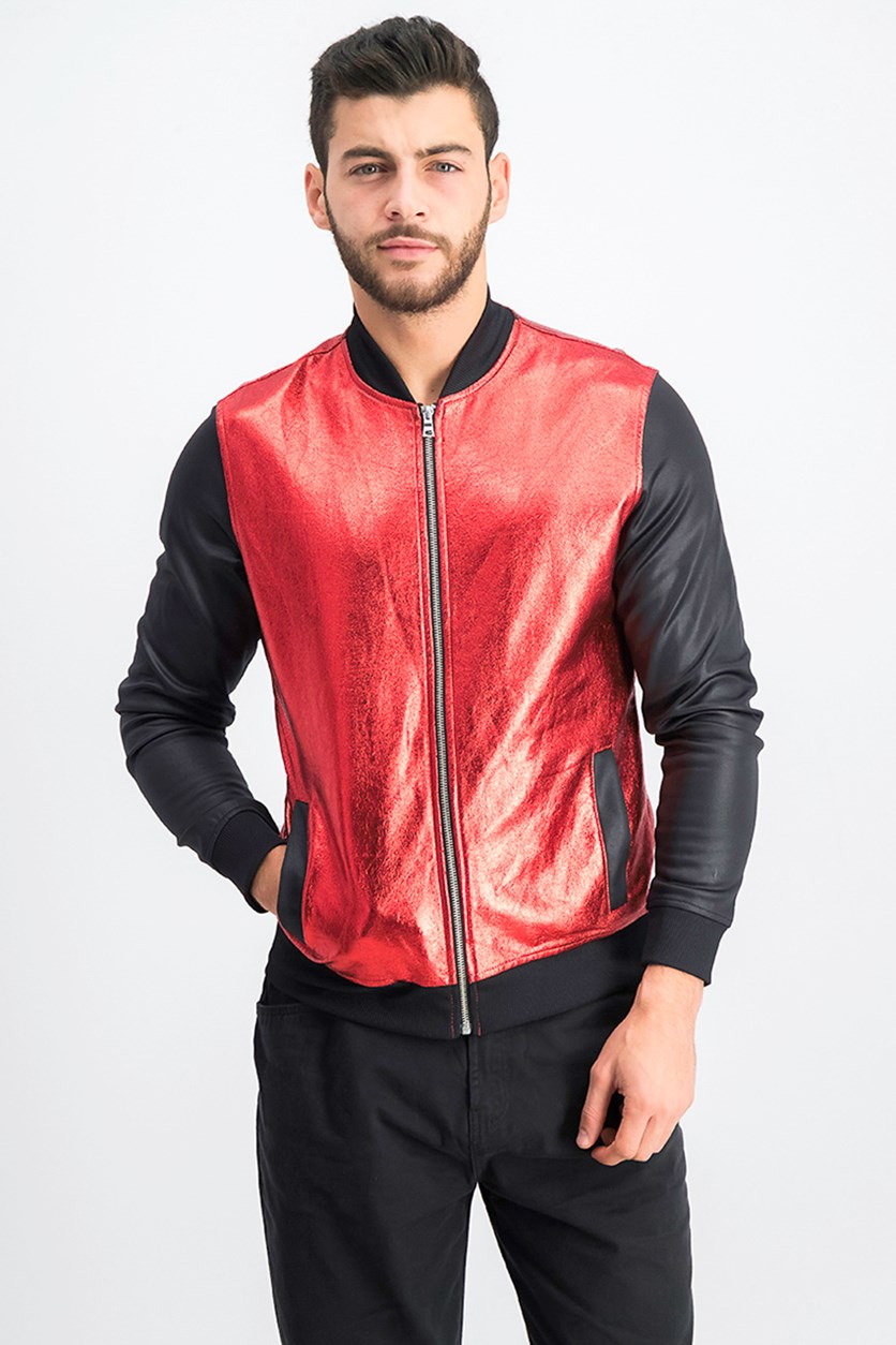 Men's Metallic Sparkle Bomber Jacket, Red/Black