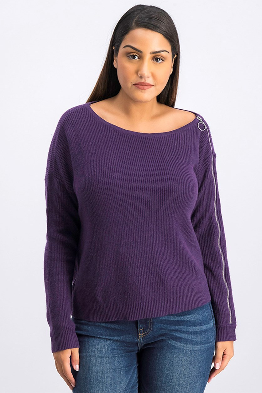 Women's Ribbed Zipper-Sleeve Sweater, Purple