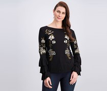 INC International Concepts Embroidered Tiered-Sleeve Top, Black Combo