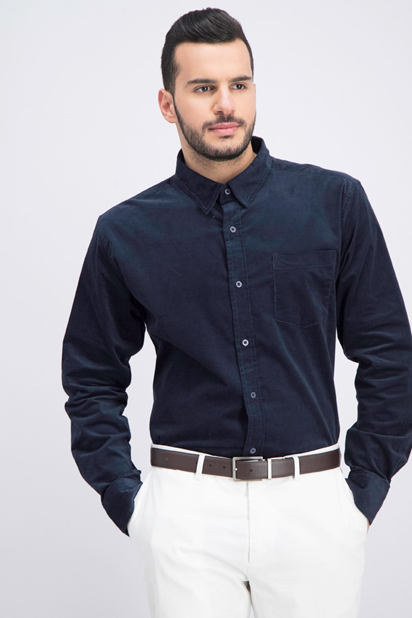 Men's Slim-Stretch-Fit Corduroy Shirt, Navy