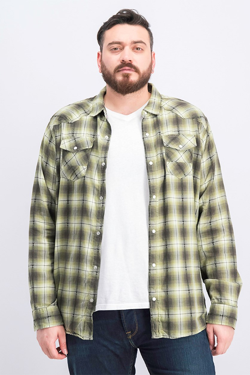 Men Plaid Shirt, Dusty Olive
