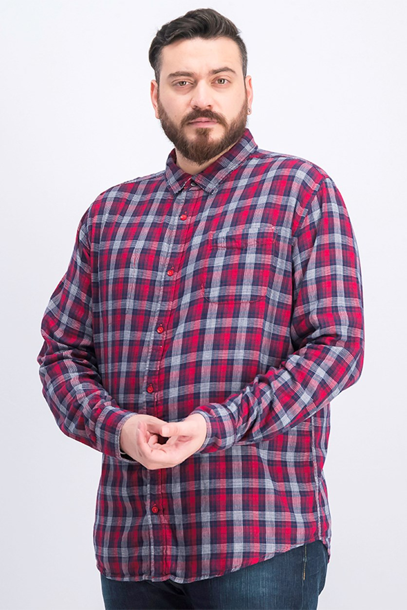 Men's Plaid Reversible Shirt, Red