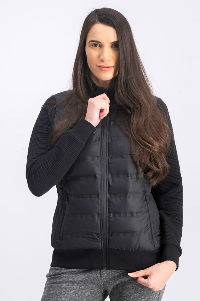 Women's  Puffer Jacket With Knit Sleeves, Black