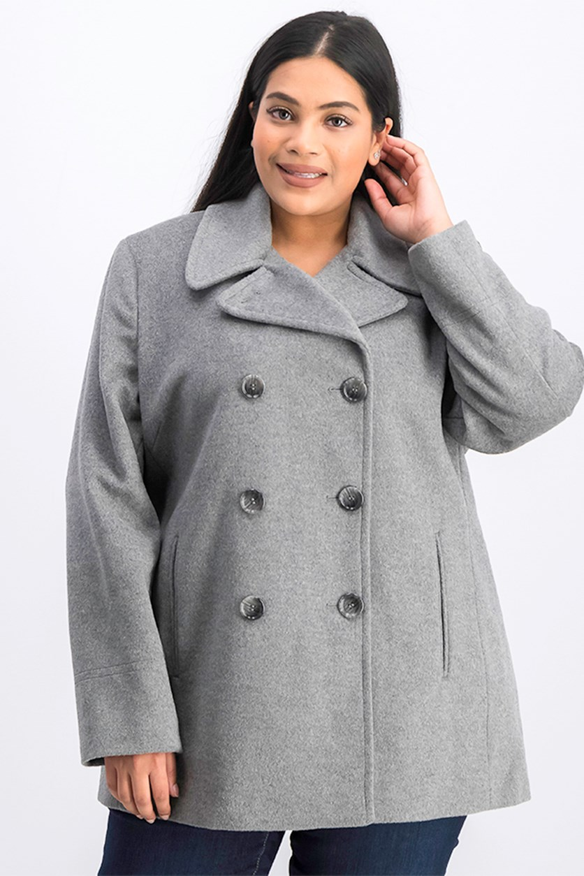 Plus Size Classic Double Breasted Overcoat, Tin