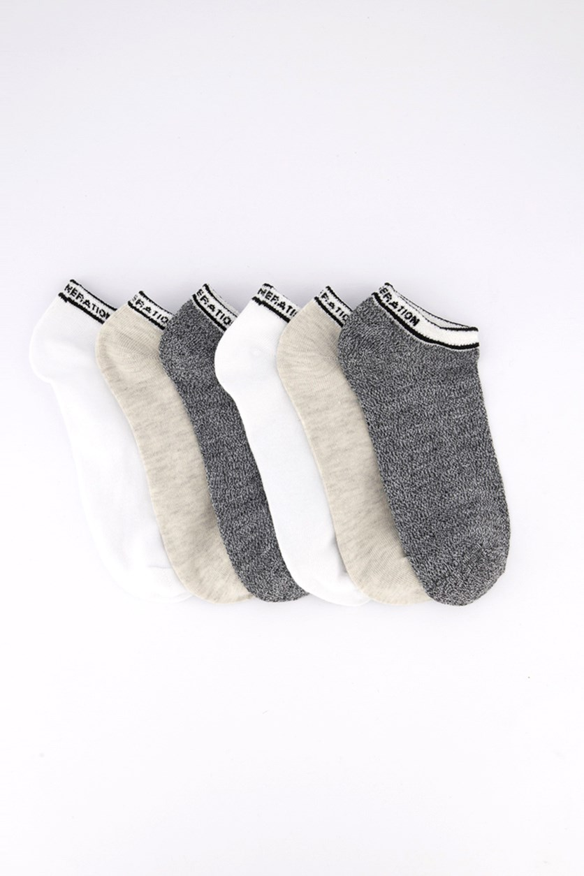 Women's 6 Pairs Socks, White/Beige/Black