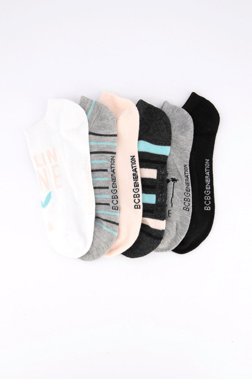 Women's 6 Pairs Socks, White/Grey/Black/Peach