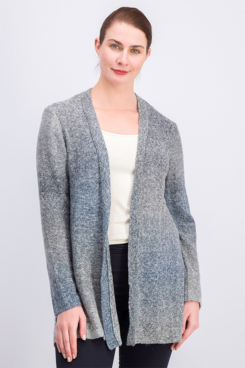 Women's Ombre Open-Front Cardigan, Black/Grey Combo