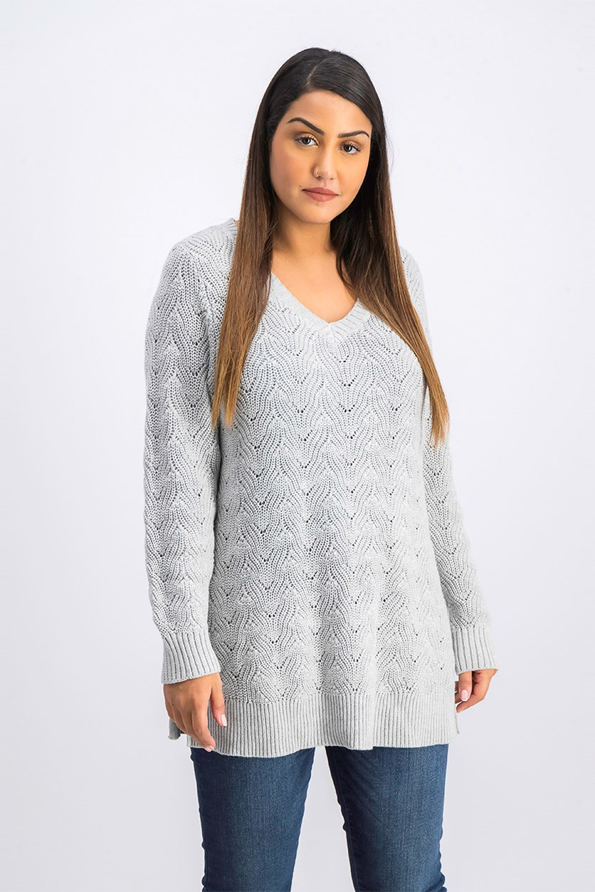 Women's Pointelle-Knit Tunic Sweater, Light Grey Heather