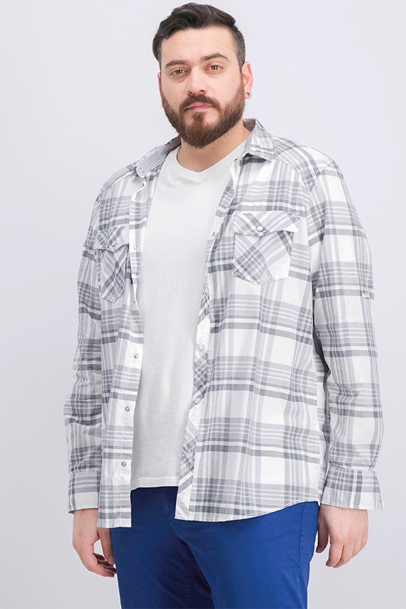 Men's Plaid Shirt, White Combo