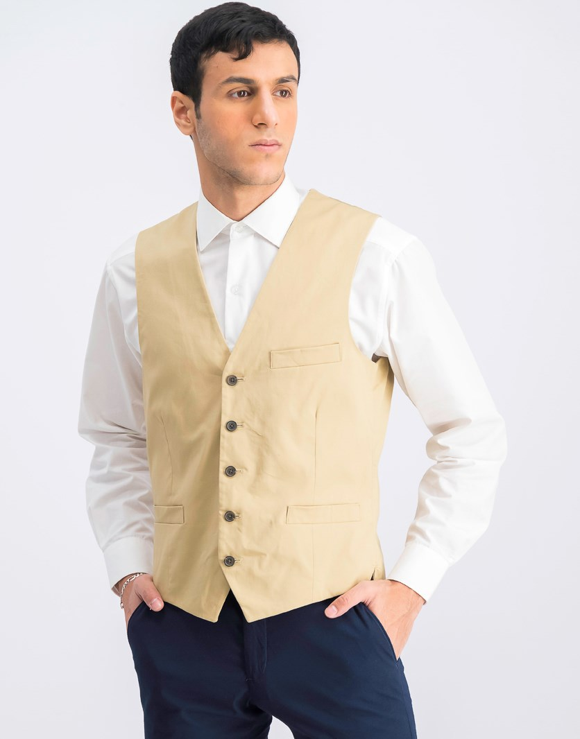Men's Collins Slim-Fit Vest, Travertine Tile
