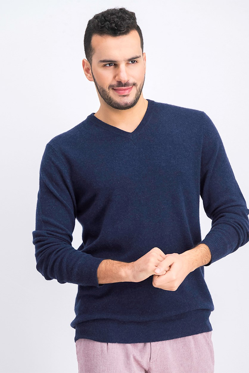 Men's Cashmere Knit Sweater, Navy Heather