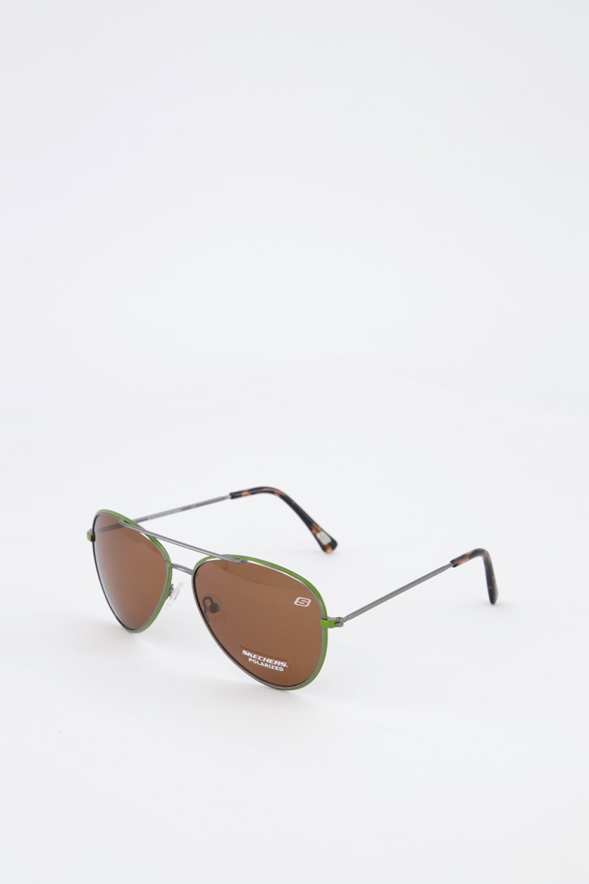 Women's SE5099 Aviator Sunglasses, Green/Brown