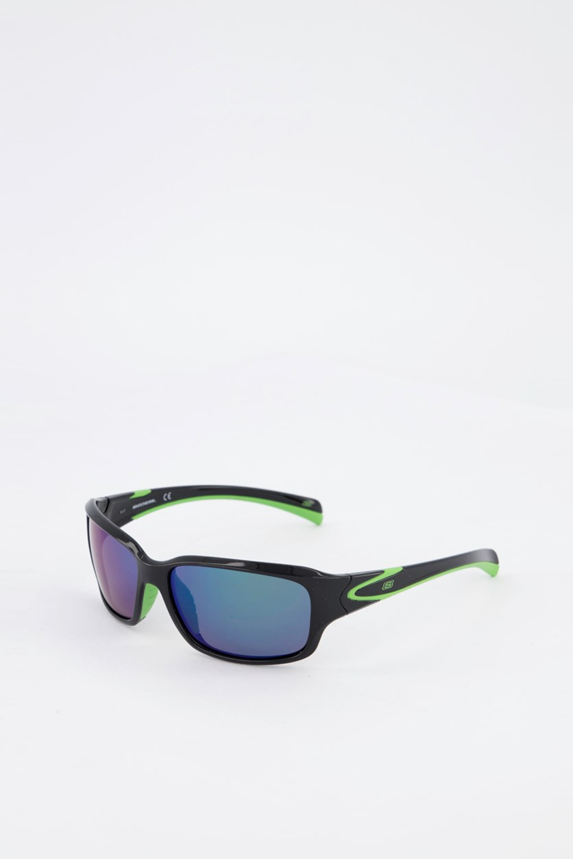 Men's SE5104 Sports Sunglasses, Black/Green