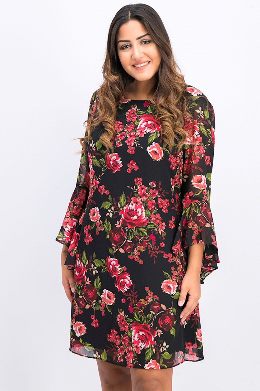 Floral Chiffon Bell-Sleeve Dress, Black/Crimson Combo