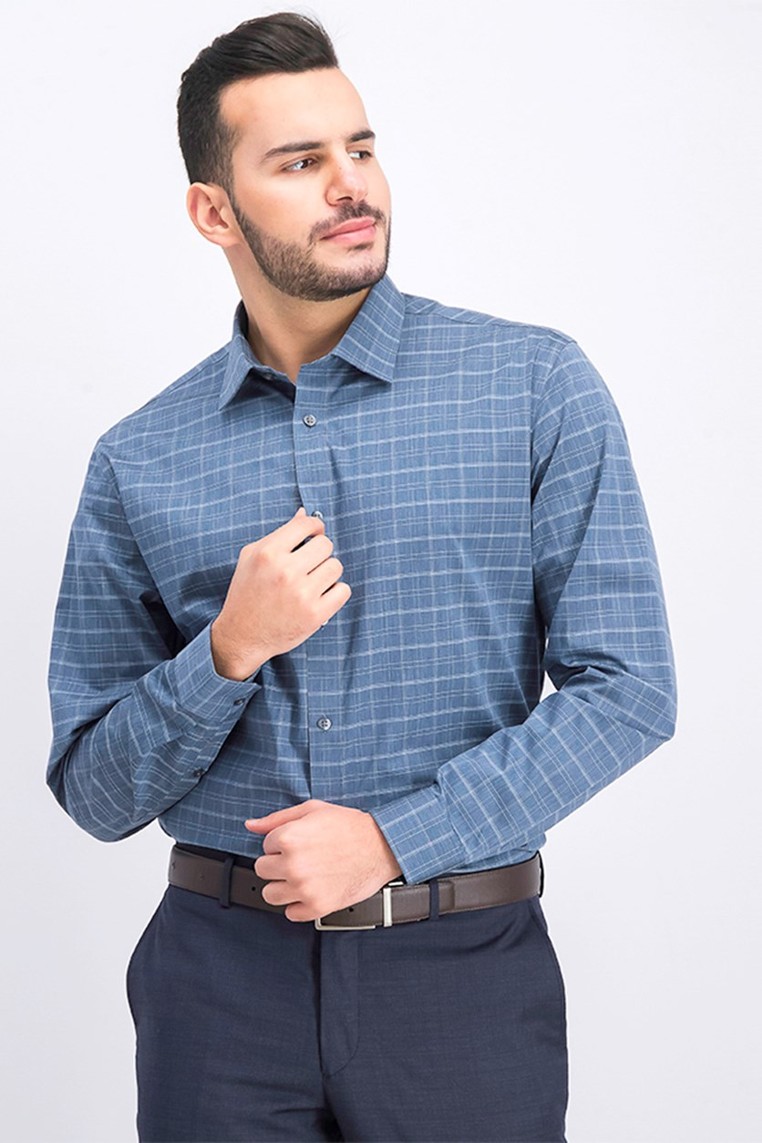 Men's Slim-Fit Stretch Check Dress Shirt, Medieval