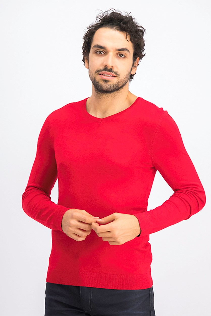 Men's V-Neck Pullover Sweatshirt, Red