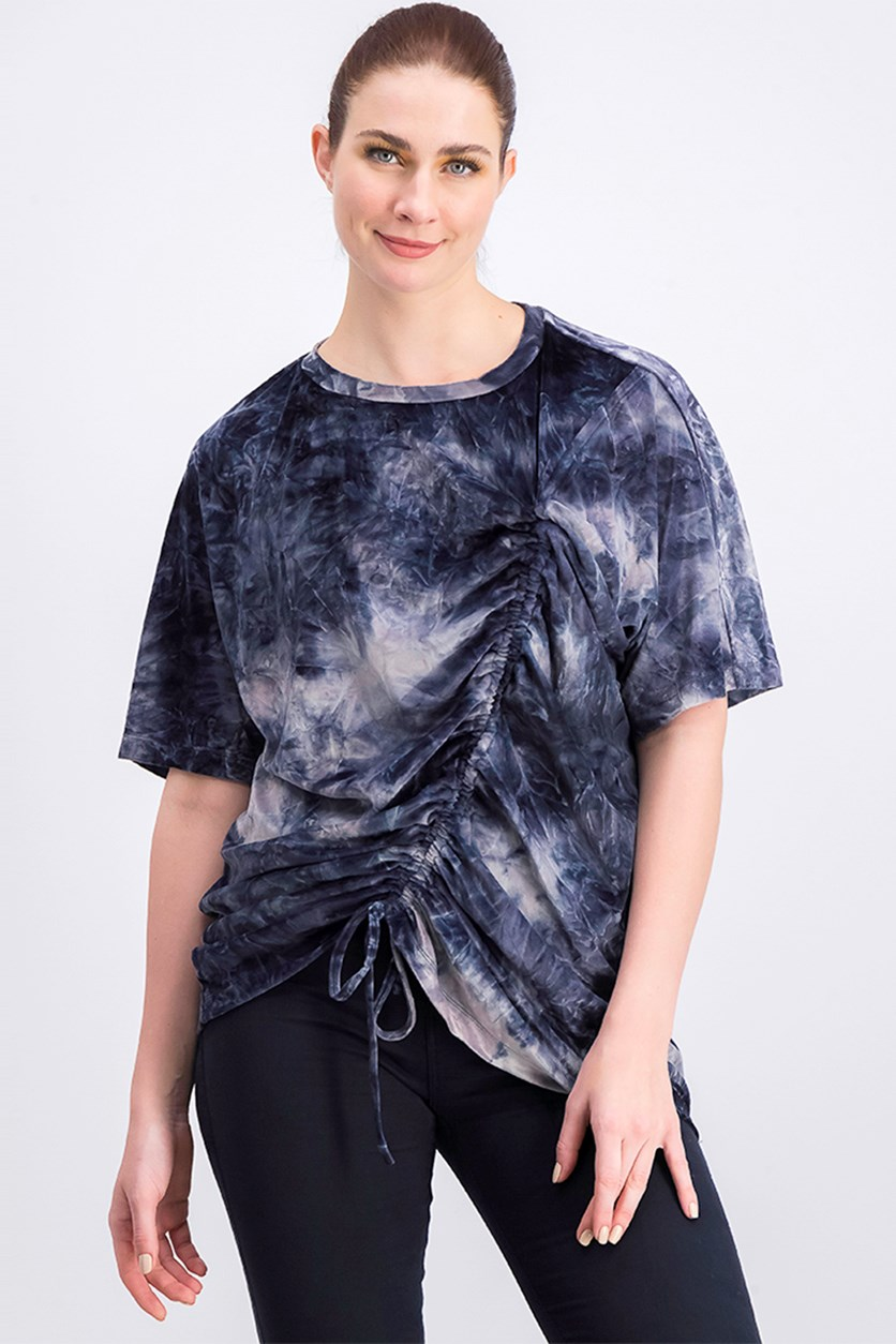 Women's Oversized Velvet T-Shirt, Navy