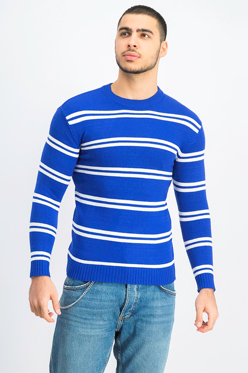 Mens Stripe Sweater, Royal Blue/White