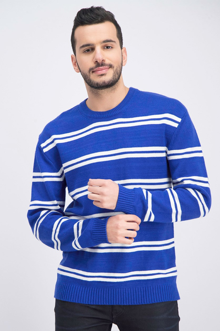 Men's Stripe Pullover Sweatshirt, Blue/White