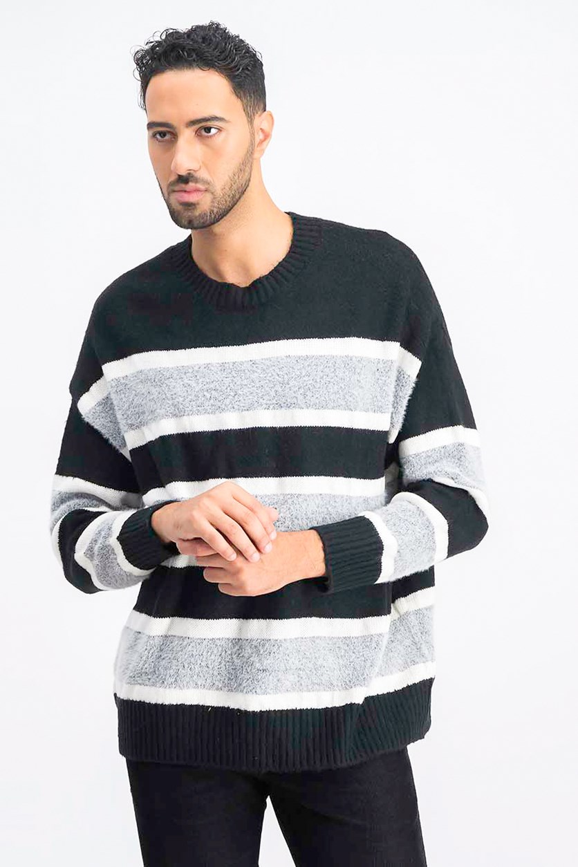 Men's Colorblock Sweater, Black/Grey/White