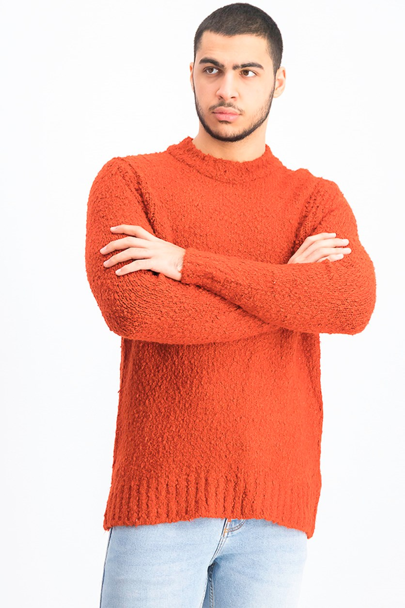 Men's Textured Pullover Sweatshirt, Rust
