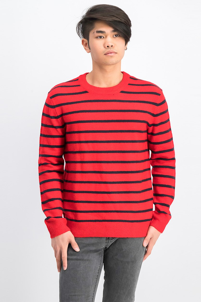 Men's Striped Pullover Sweater, Red