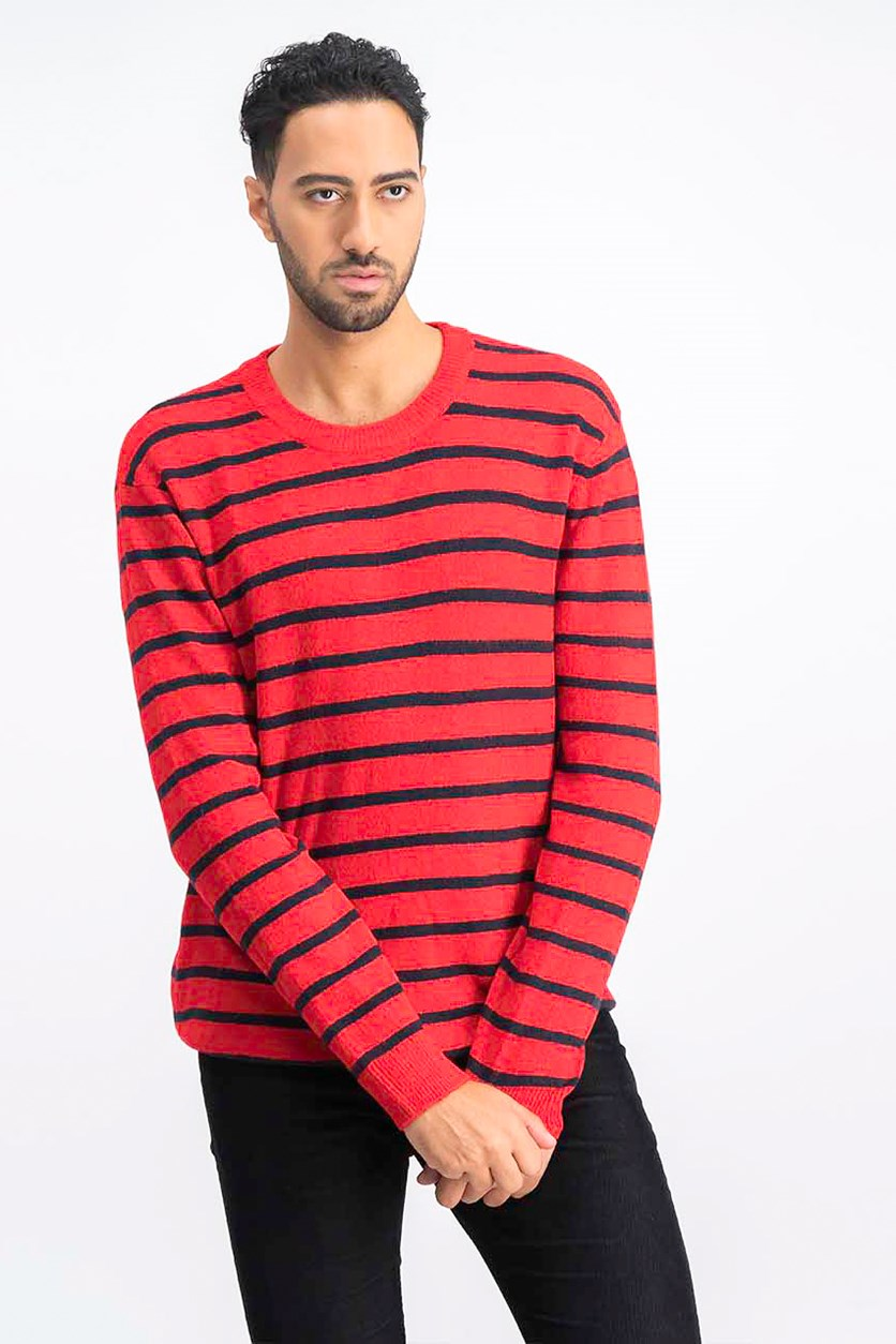 Men's Stripe Sweater, Red/Black