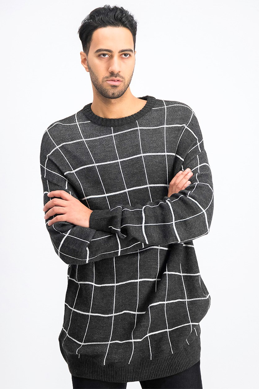 Men's Plaid Long Sleeve Sweater, Black/White