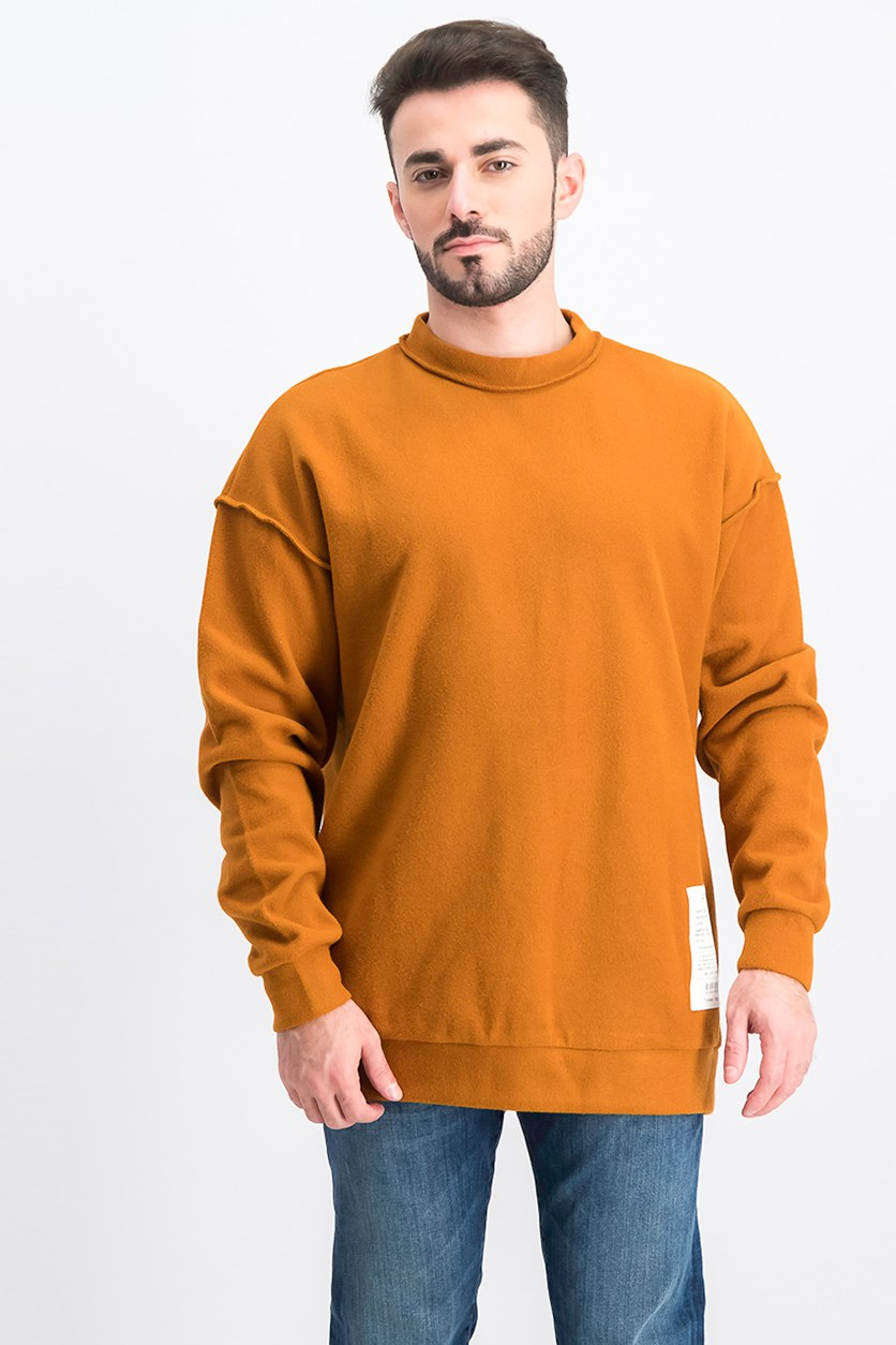 Men's Long Sleeve Pullover Sweater, Rust