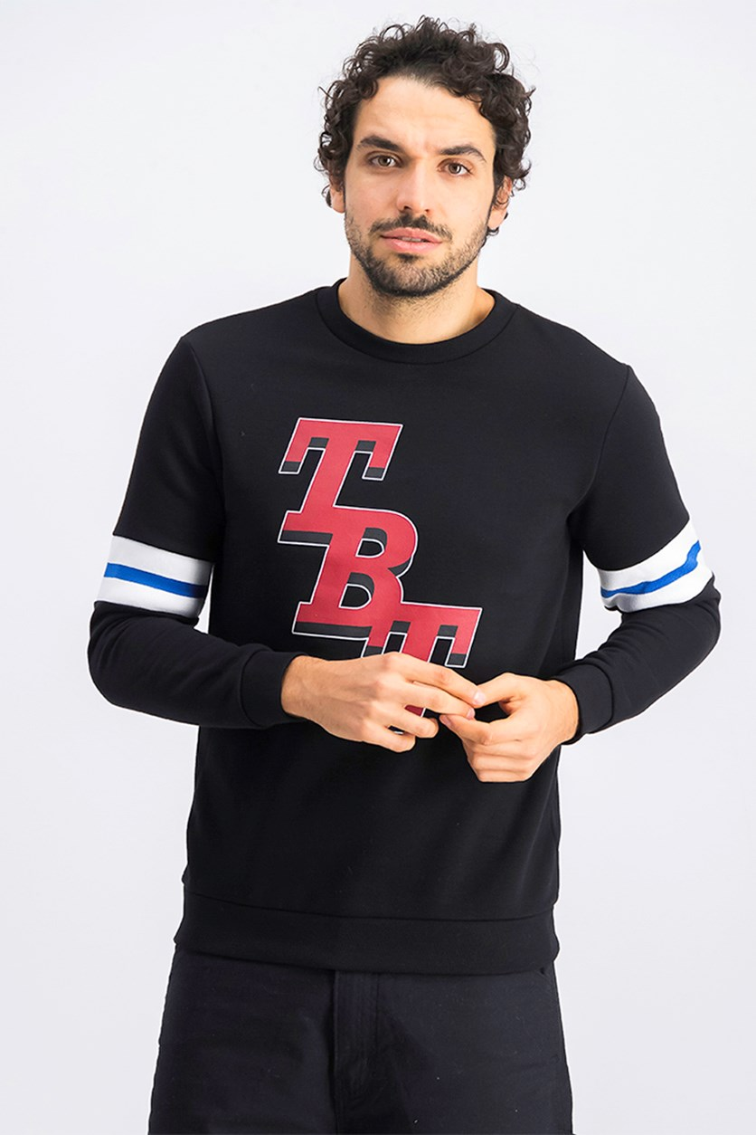 Men's Graphic Print Sweatshirt, Black