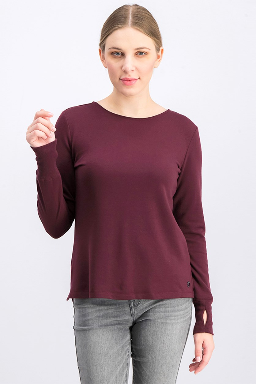 Lattice-Back Long-Sleeve Top, Vintage Burgundy