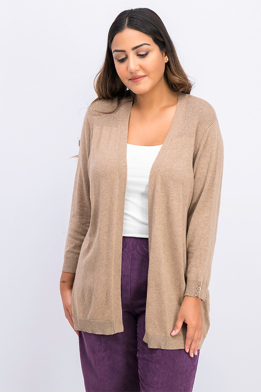 Ribbed-Yoke Open Cardigan, Chestnut Heather