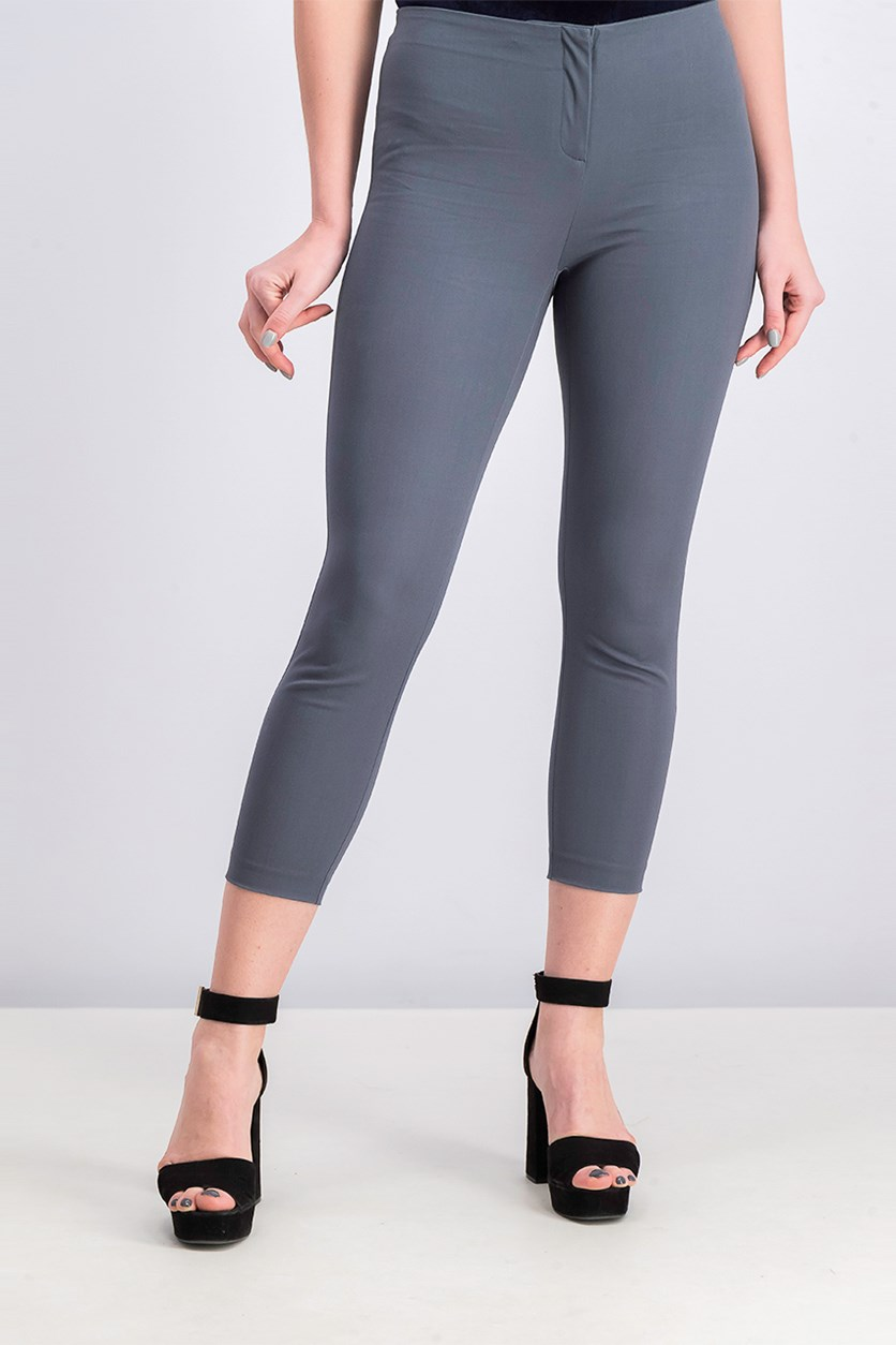 Women's Petite Hollywood-Waist Skinny Ankle Pants, Stadium Grey