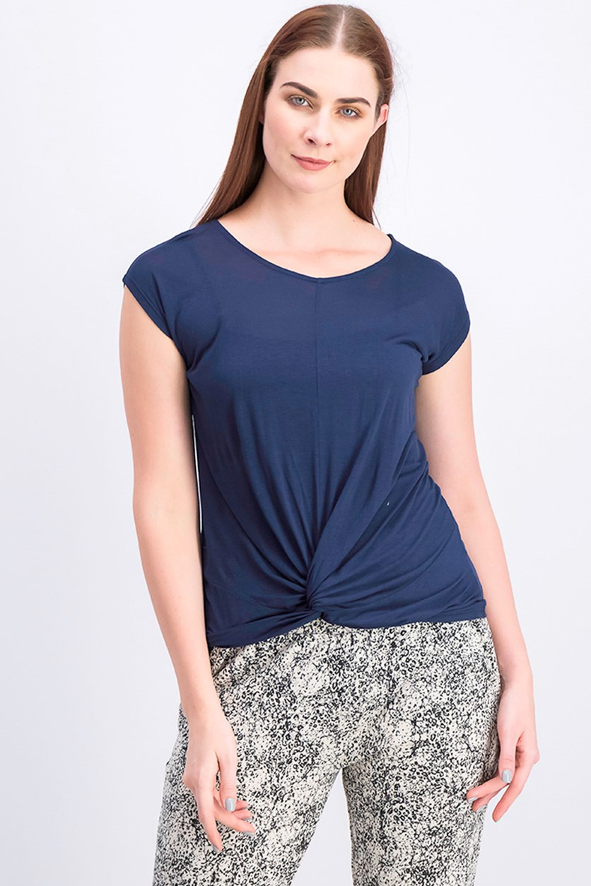 Women's Twist Front Tee, Deep Twilight