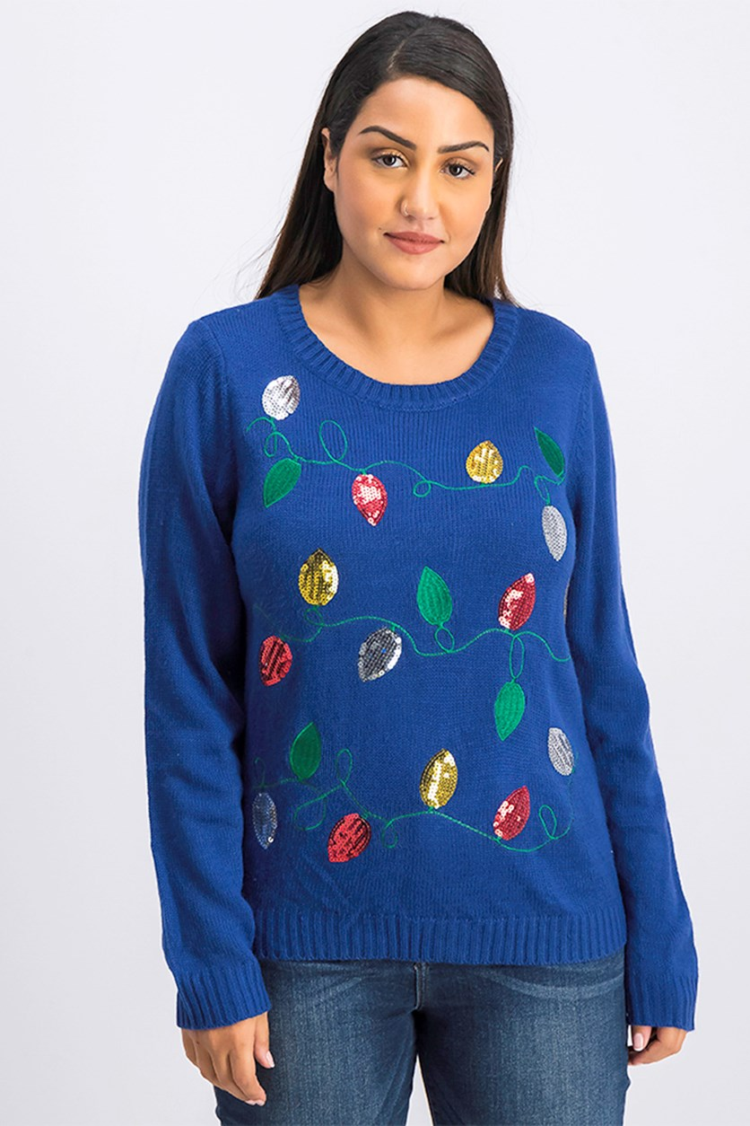 Women's Pullover Sweater, Deep Pacific