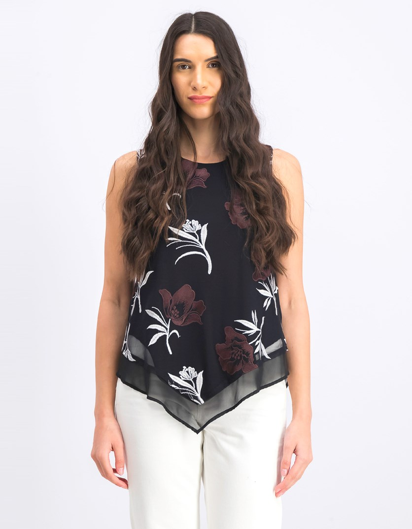 Women's Petite Printed Embroidered Pointed-Hem Top, Black Combo