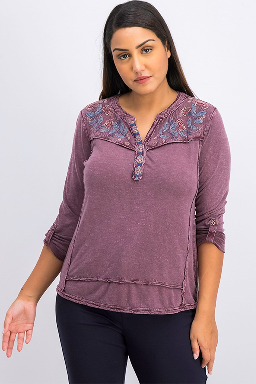 Petite Cotton Embroidered Top, Berry Jam