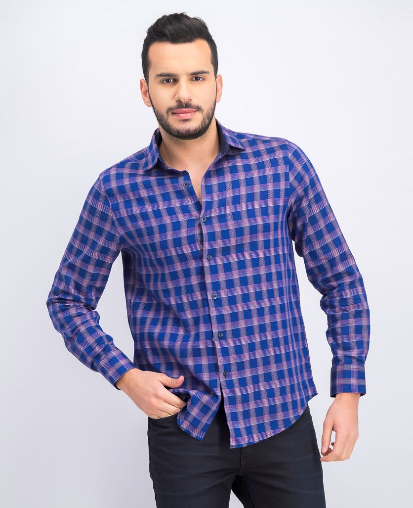 Bossini Plaid Shirt, Blue Combo