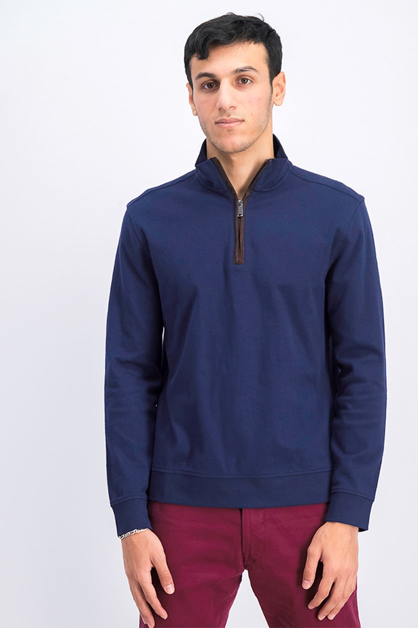 Mens Piped 1/4-Zip Sweater, Navy Blue