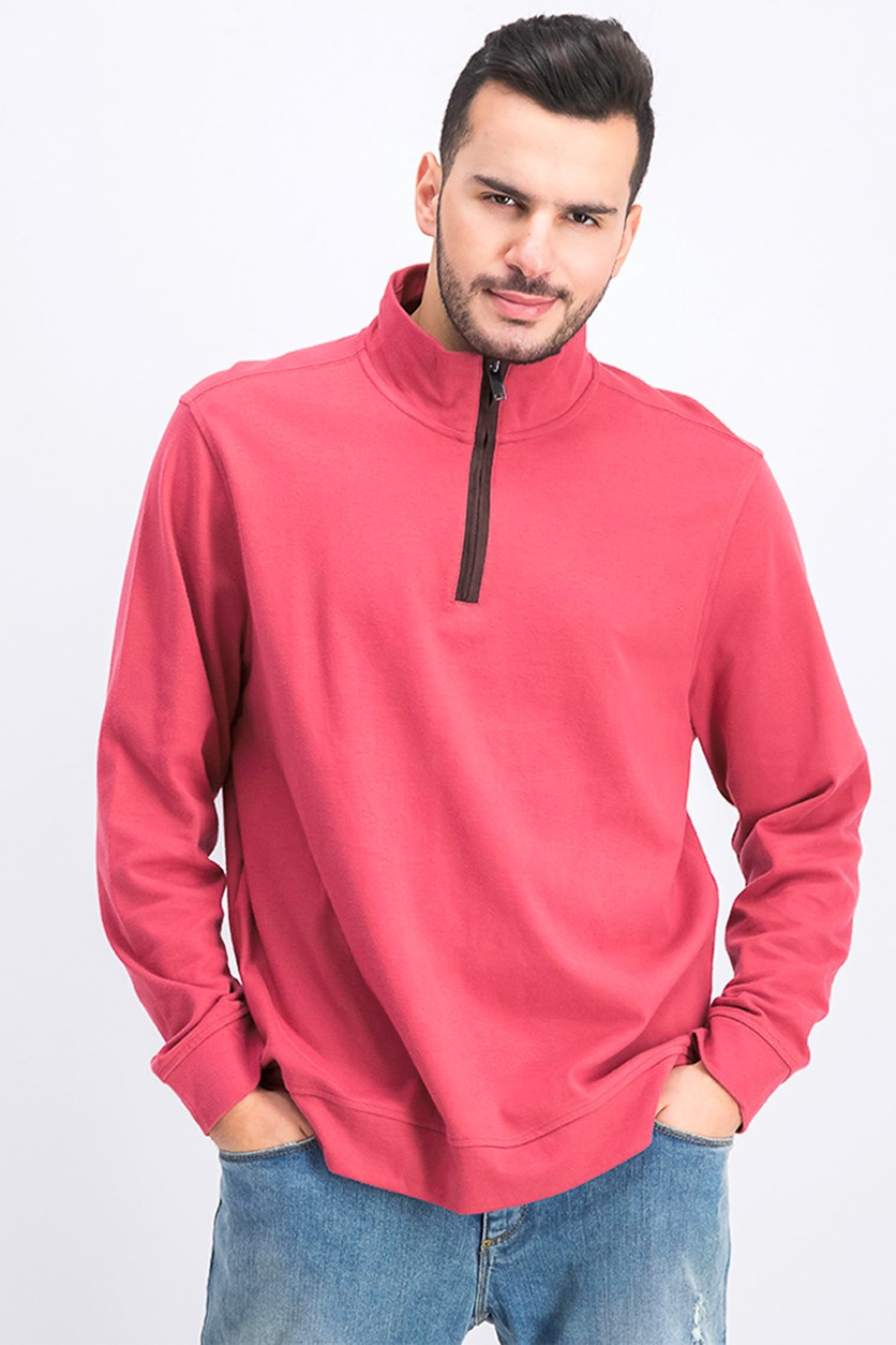 Men's Piped 1/4-Zip Sweater, Chinaberry