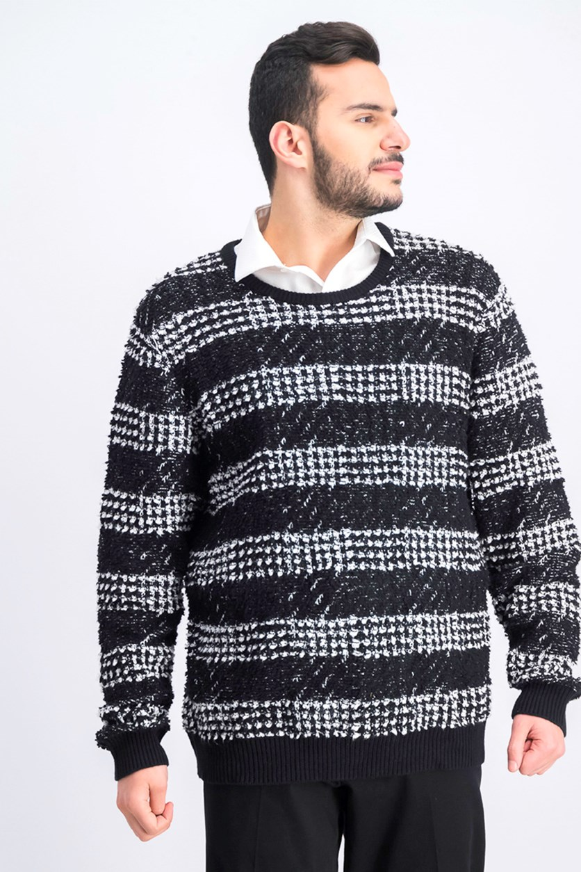 Men's Chunky Striped Sweater, Deep Black