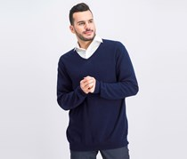 Mens Seed Stitched Cotton Sweater, Navy Blue