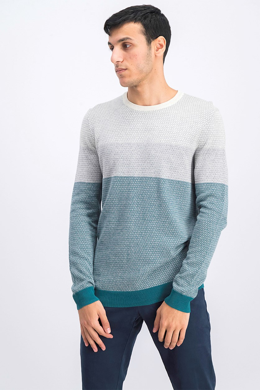 Men's Imola Colorblocked Cotton Sweater, Pacific Combo