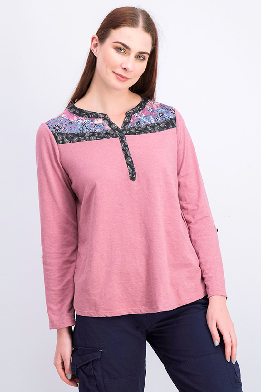 Women's Split-Neck Roll-Tab-Sleeve Top, Messa Rose