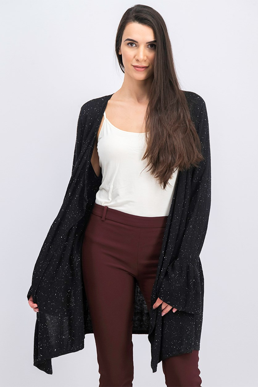 Women's Bell Sleeve Draped Cardigan, Black