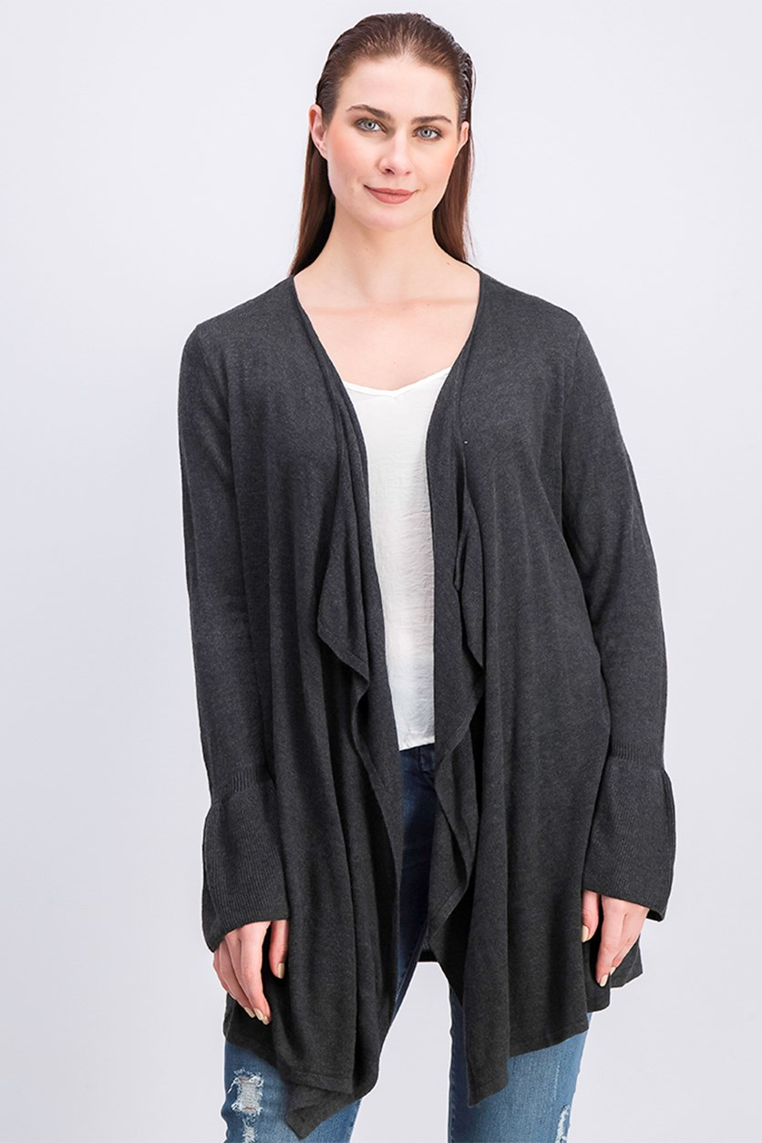 Women's Bell Sleeve Draped Cardigan, Charcoal