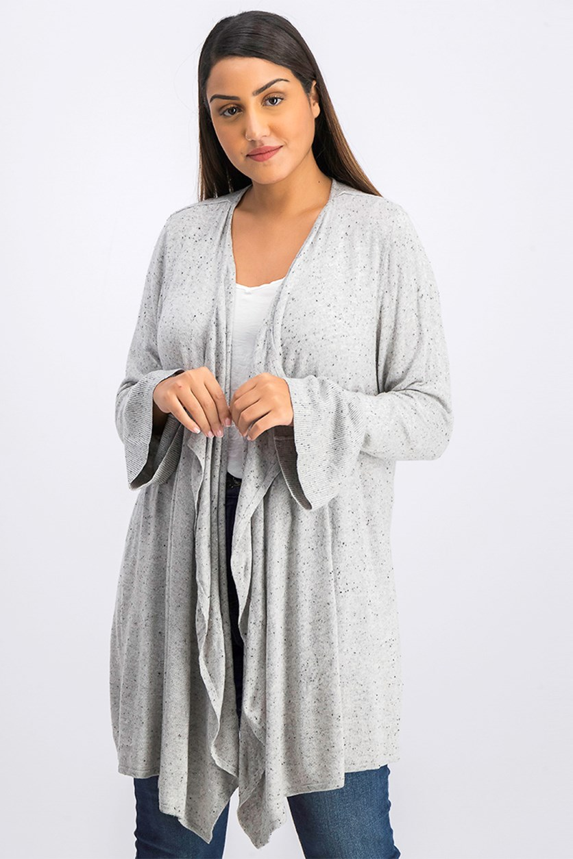 Bell-Sleeve Draped Cardigan, Light Grey Heather