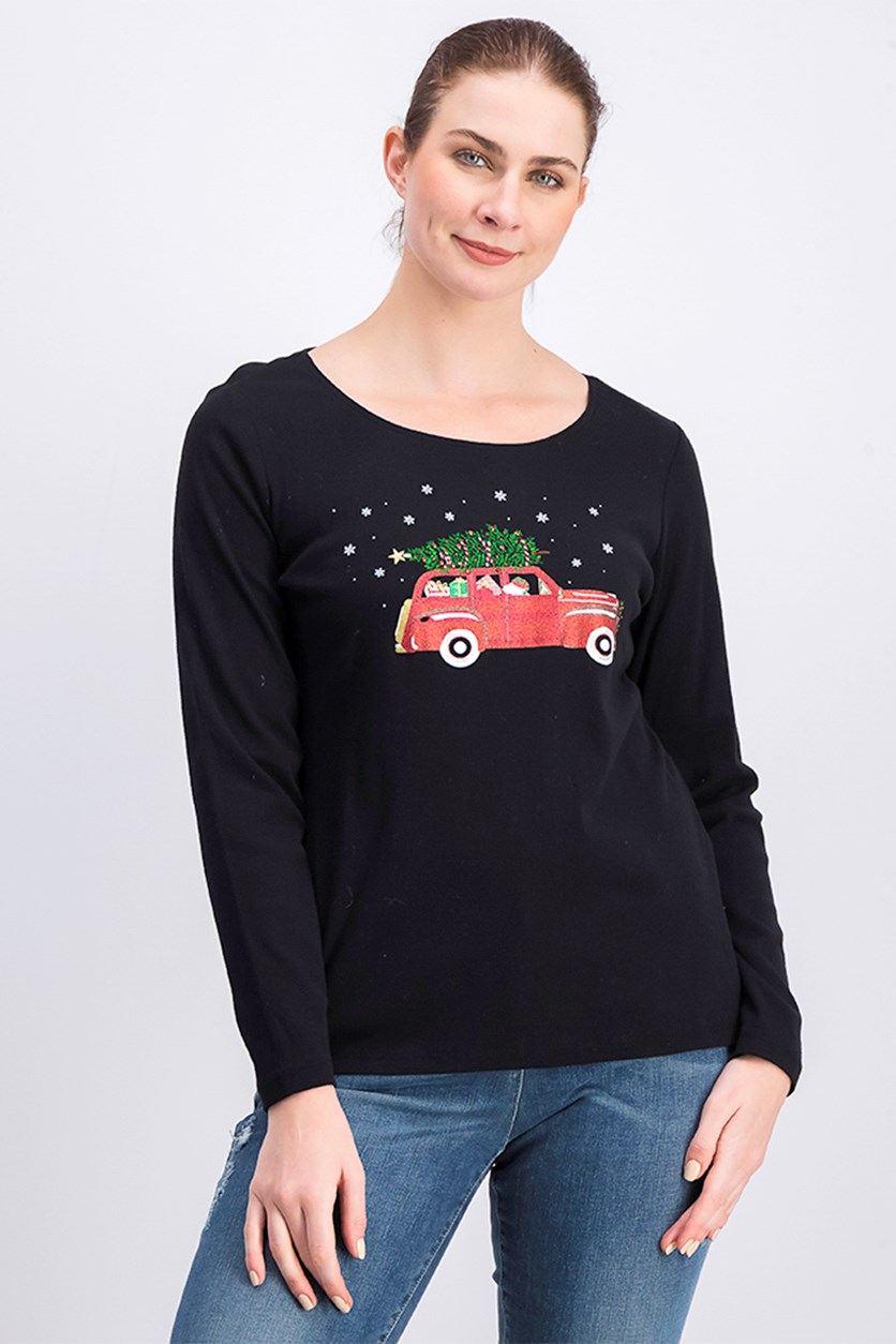 Women's Holiday Graphic Top, Black