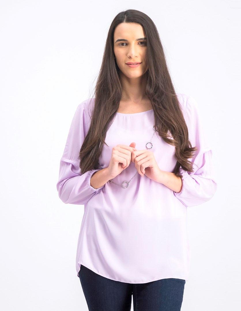 Statement-Sleeve Necklace Top, Lilac Moon